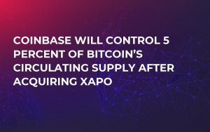 Coinbase Will Control 5 Percent of Bitcoin's Circulating Supply After Acquiring Xapo