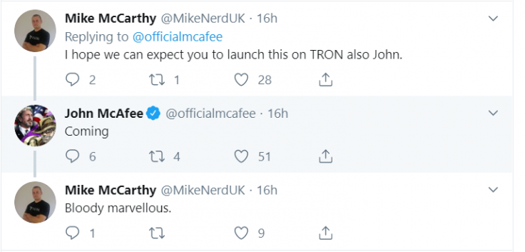 McAfee dex to launch on Tron